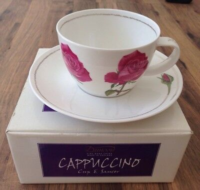 Boxed Dunoon Cappuccino Cup and Saucer Cadenza Rose Fine Bone China.