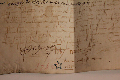 Rare 1466 french XV century skin parchment oncial manuscript wt amazing signing