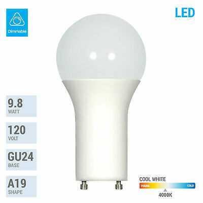 9.8W Dimmable A19 LED 40K Cool White 60W Equivalent GU24 Base Light Bulb