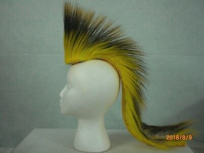 Porcupine Roach, Yellow 22 inch Out, 2 Tone Yellow Striped with Yellow Yarn Base