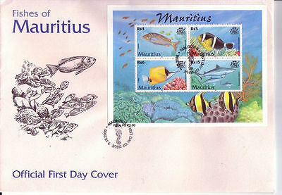 Official First Day Cover - Fishes of Mauritius