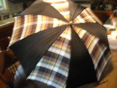 Vintage black and plaid striped umbrella with clear glass handle