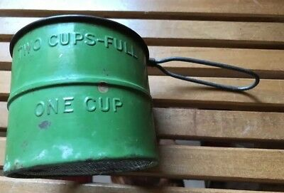 Antique Primitive Handheld Flour Green Sifter 2 Cups USA Great Condition!
