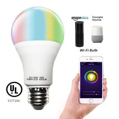 Smart RGBW Tunable Warm White & Color LED Bulbs WiFi APP-Smartphone controlled