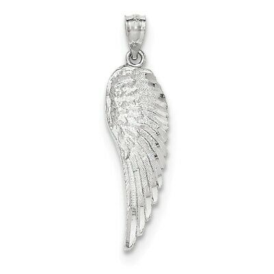 14K Yellow Or White Gold Polished And Textured Angel Wing Feather Pendant
