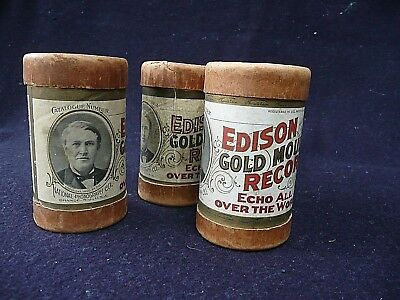 """Lot of 3 Antique EDISON GOLD MOULDED Cylinder """"Records"""" – Black Americana!"""