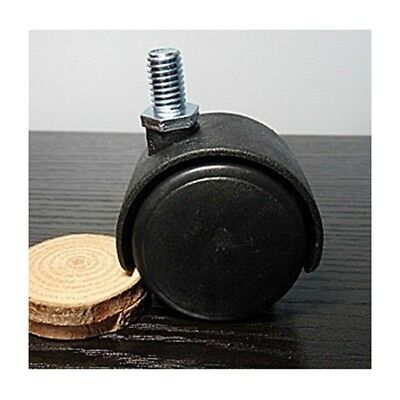 """Pack of 100  1.5"""" inch Black Plastic Caster Wheel with M8 Screw threaded Stem"""