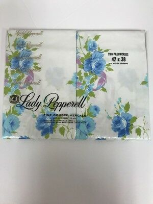 Lady Pepperell Pillowcases Rose Beau Blue Floral Shabby Chic Set Vintage New