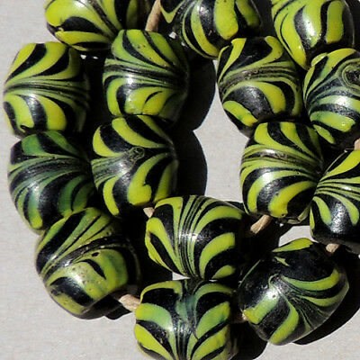 15 old antique venetian fancy feather beads african trade #1691