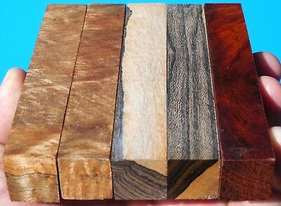 5 Pen Blanks Amboyna Burl~Satinwood Burl & Ziricote~Exotic Wood Lumber