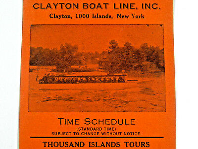 Vintage c1915 THOUSAND ISLANDS  CLAYTON BOAT LINE NY boat tour  TIME SCHEDULE