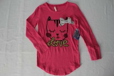 6275a209a NEW T SHIRT Girls Size 10 - 12 Large Kids Top Pink Long Sleeve ...