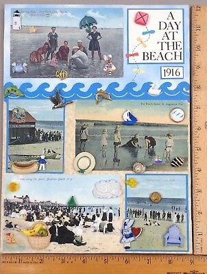 Card of 28 BUTTONS, Assorted A DAY AT THE BEACH Related, Various Materials