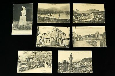 Lot of 7 - Martinique Postcards 1910s Ruins of St. Pierre Sugar Colonial France