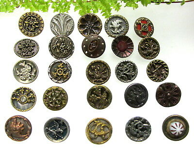 Lot Of 25 Smaller Size Victorian Metal Buttons With Different Designs S110
