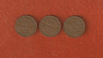 3 Semi Rare One Cent Coins 1927 - 1930 - 1931 Great  One cent coins Lot 56