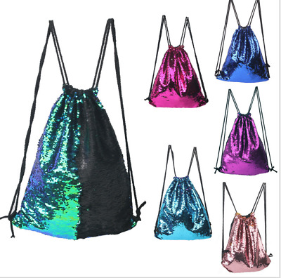 Casual Womens Girls Magic Reversible Sequins Mermaid Drawstring Shoulder Bags