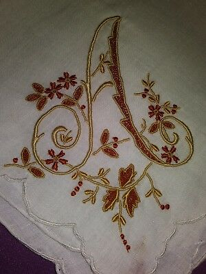 "Beautiful Appenzell Madeira Embroidered Handkerchief Initial ""A"" Design 12 1/2"""