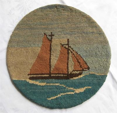 GRENFELL Labrador Round TABLE MAT Rug Hand Hooked SAILBOAT orig tag Newfoundland