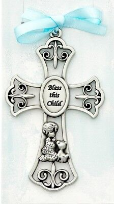 Bless This Child Crib Cross Medal w/ Blue Ribbon NEW! Baby Shower Gift! USA Made