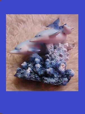 """Blue Dolphin Figurine Exquisite 3 On Faux Coral Tail Tip To Coral 12"""" Nwot"""