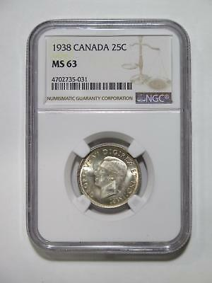 Canada 1938 25 Cents Ngc Graded Ms63 Silver Type Toned World Coin Collection Lot