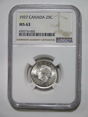 Canada 1937 25 Cents Ngc Graded Ms63 Silver Type Toned World Coin Collection Lot
