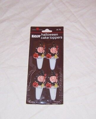 Ziggy Witch Halloween Cup Cake Toppers Plastic 1985 In Pack Of 4