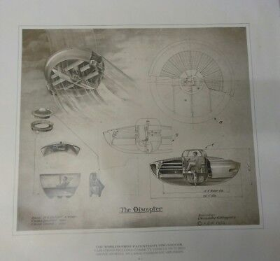 Alexander Weygers Discopter poster print #1 1943 patent 24×28 Flying Saucer UFO
