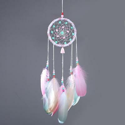 Dream Catcher With Feathers Home Car Wall Hanging Decoration Ornament Craft Pink