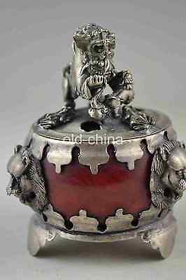 China collectible decorate old red jade tibet silver carve lion censer b01