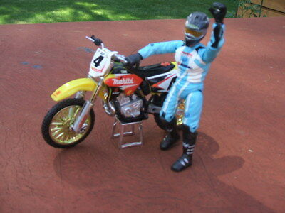 Motocross Champion Rickey Carmichael #4 Makita Suzuki Motorcycle and Figure