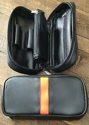 Black Leather Tobacco Pipe Bag Pouch Case. Holds 2 Pipes and Accessories.