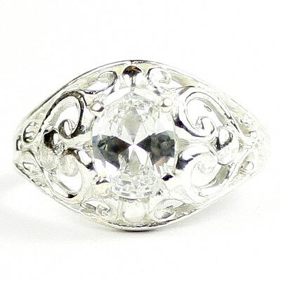 • SR111, 1.5ct Cubic Zirconia CZ, Sterling Silver Ladies Filigree Ring, Handmade