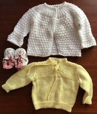Two Baby Knit / Crochet Cardigan And Jumper Size 0.  Pair Baby Booties By Be.
