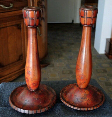 Lovely Pair Tall Wooden Candle Sticks Poker Work Flame Tree Decoration #22