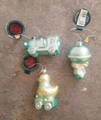lot of 3 glass baby boy ornaments train duck rattle