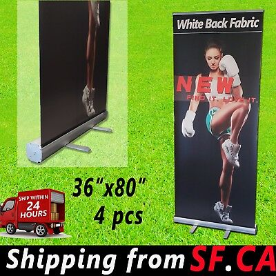 "4Pcs,36""x 80"", Retractable Banner Stand,Roll Up Trade Show Pop Up Display Stand"