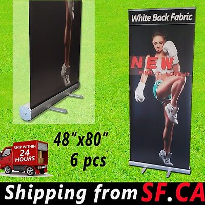 "6 pcs,48"" x 80"",Retractable Roll Up Banner Stand Trade Show Pop Up Display Stand"