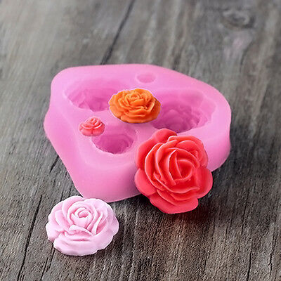 Silicone 3D 4PCS Rose Flower Shapes Mold DIY Cake Fondant Chocolate Icing Deco w