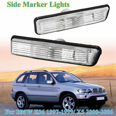 2x Front Side Marker Turn Signal Lights Lamp Clear For BMW E36 1997-99 X5 00-06