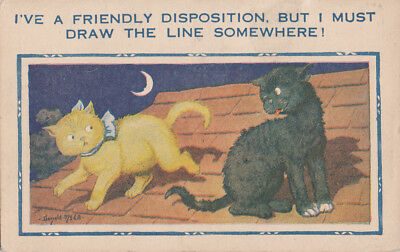 Donald McGill [956] Moon Cats, Friendly Disposition,Draw The Line theme postcard