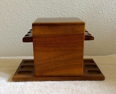 Vintage Wood 6 Pipe Rack Stand Holder, With Humidor