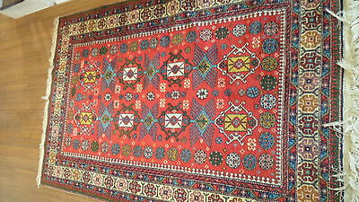 Antique Authentic 100% Wool Hand Made Knotted Vintage Kazak Rug