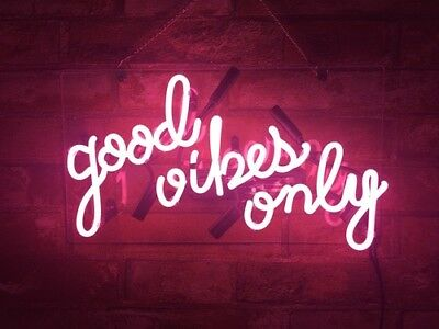 """14""""x8""""Good Vibes Only Neon Sign Light Home Room Hallway Wall Decor Costomized"""