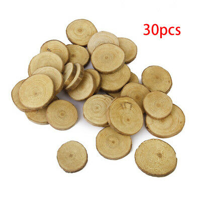 30Pcs Rustic Natural Round Wood Pine Tree Slices Craft Wedding Centerpiece Decor