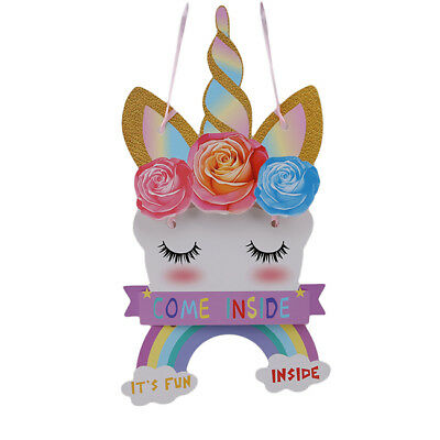 Cute Unicorn Plaque Girls Hanging Paper Sign For Kids Bedroom Decor