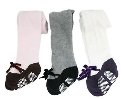 3 Pairs Baby Girl Pink White Grey Mary Jane Ribbon Anti-slip Cotton Tights
