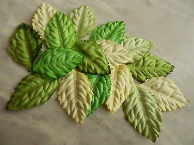 50 paper LEAVES 40mm Mixed Greens MPL33A Craft Scrapbook Card embellishment