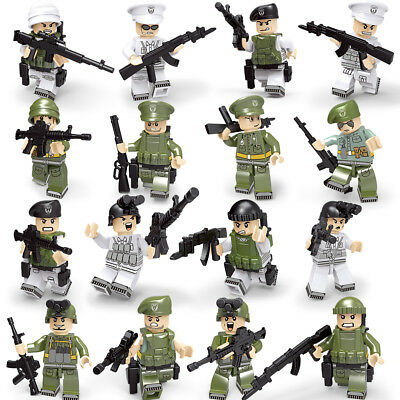 16pcs Navy and Army Soldier Figures with Military Weapons Building Blocks Toys